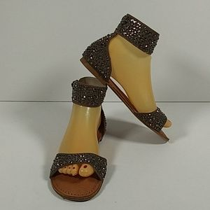 Naughty Monkey taupe studded ankle sandals 7 NEW
